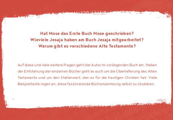 """Begleitwort zum Buch """"Wer hat eigentlich das Alte Testament geschrieben?"""" von Armin Wunderli"""